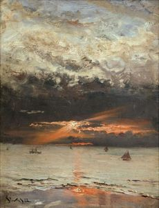 Alfred Stevens - pôr do sol na mar