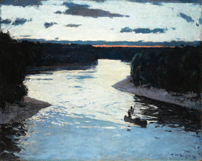 Dawn on the Iorque, Petróleo por Frank Weston Benson (1862-1951, United States)