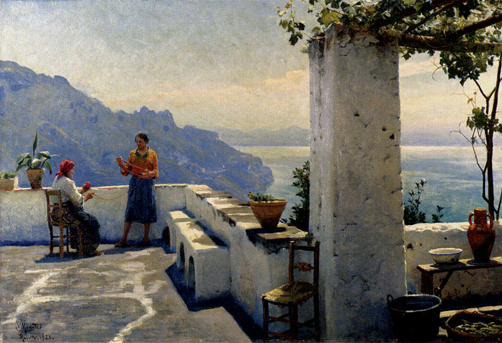 Ravello, Petróleo por Peder Mork Monsted (1859-1941, Denmark)