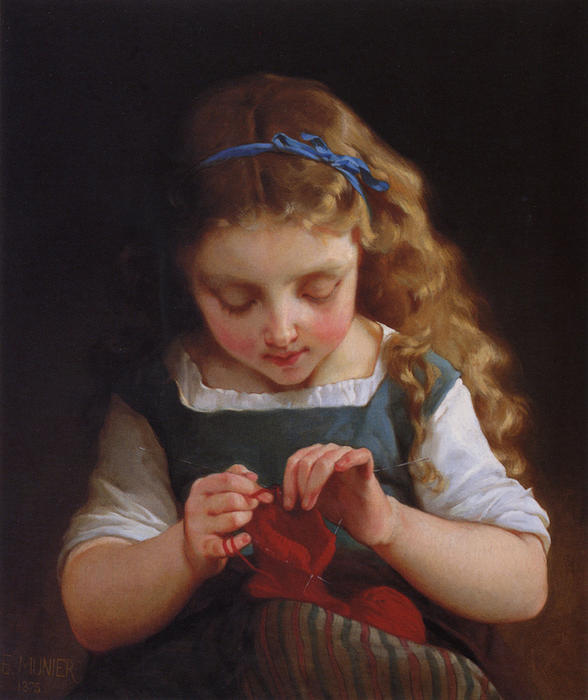 A Stitch Cuidadoso por Emile Munier (1840-1895, France)