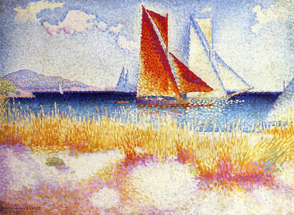 Regata, óleo sobre tela por Henri Edmond Cross (1856-1910, France)