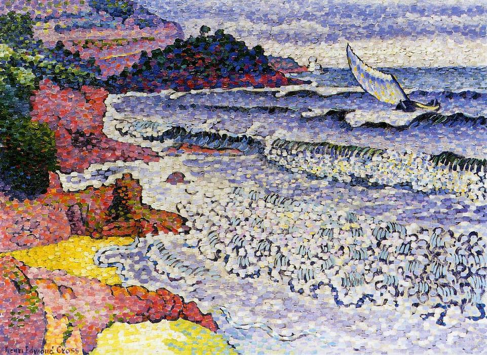 O mar lambendo, óleo sobre tela por Henri Edmond Cross (1856-1910, France)