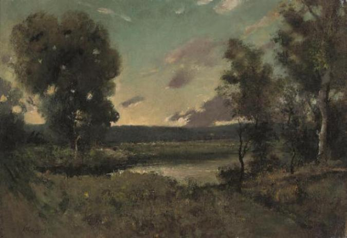 Um pool de floresta no crepúsculo por Henri-Joseph Harpignies (1819-1916, France)
