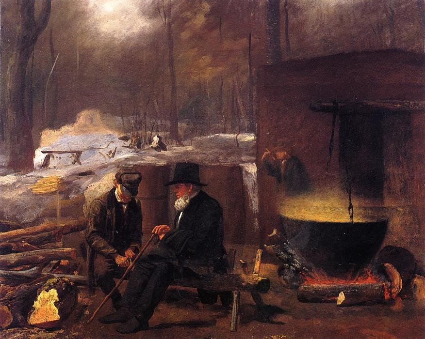 No acampamento, Girar Fios e Talhar por Jonathan Eastman Johnson (1824-1906, United Kingdom)