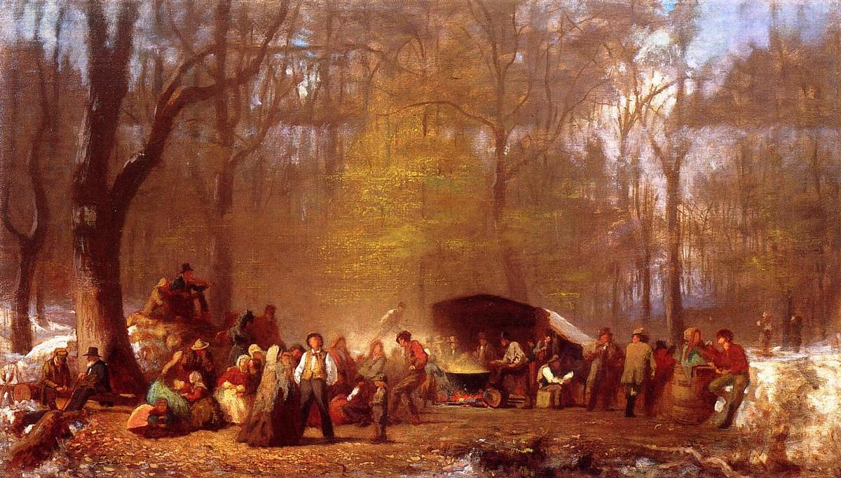 Sugaring Off, no Camp, Fryeburg, Maine por Jonathan Eastman Johnson (1824-1906, United Kingdom) | Reprodução Da Arte | ArtsDot.com