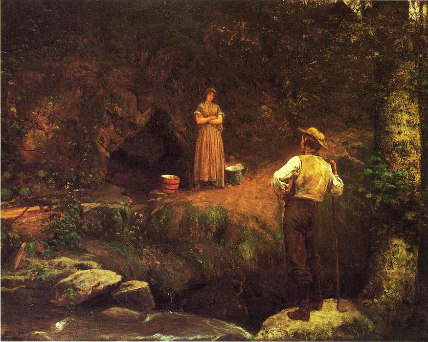 o início amantes por Jonathan Eastman Johnson (1824-1906, United Kingdom)