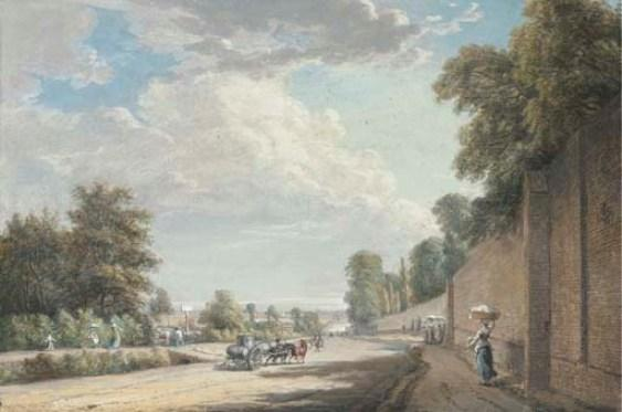 O Bayswater Road, Paddington por Paul Sandby (1798-1863, United Kingdom)