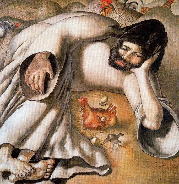 cristo no na natureza o  frango  por Stanley Spencer (1891-1959, United Kingdom)