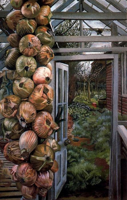 estufa e jardim por Stanley Spencer (1891-1959, United Kingdom)
