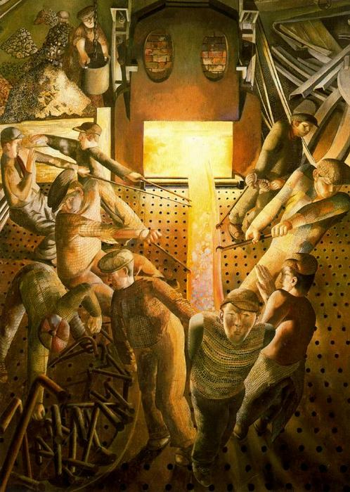 Shipbuilding no Clyde. Fornos por Stanley Spencer (1891-1959, United Kingdom)