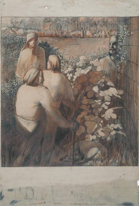 Estuda para `Joachim entre os Shepherds' por Stanley Spencer (1891-1959, United Kingdom)