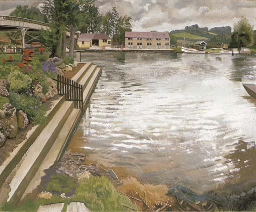 O Wharf, Cookham por Stanley Spencer (1891-1959, United Kingdom)