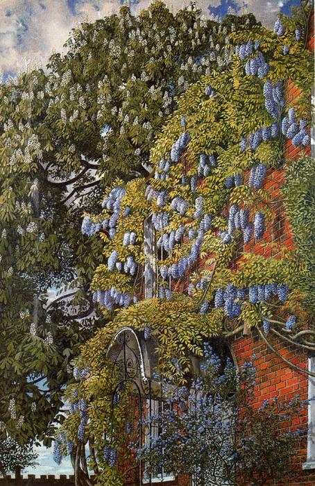 Wisteria em Englefield por Stanley Spencer (1891-1959, United Kingdom)