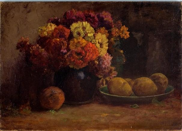 fruto e flores por Theodore Clement Steele (1847-1926, United States)