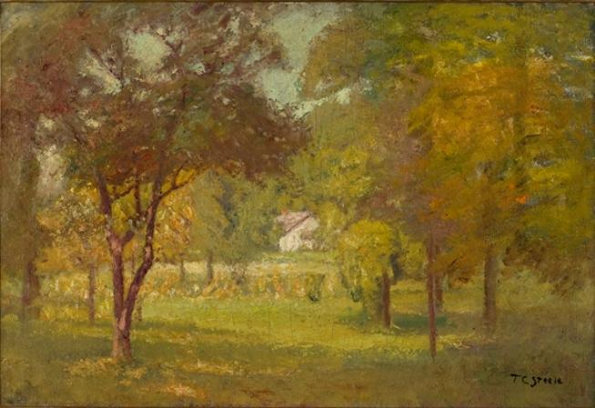 Paisagem e White Cottage por Theodore Clement Steele (1847-1926, United States)