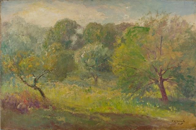 Springtime in the Orchard por Theodore Clement Steele (1847-1926, United States)