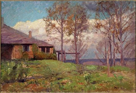 o Steele Residence-Clouds , o casa por Theodore Clement Steele (1847-1926, United States)