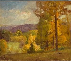Theodore Clement Steele - Wooded Hills no outono