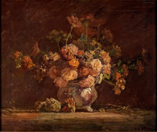 Zinnias por Theodore Clement Steele (1847-1926, United States)
