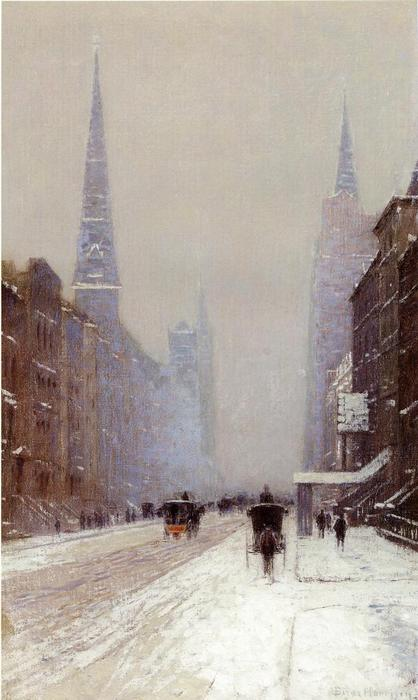 Fifth Avenue em Winter, óleo sobre tela por Lowell Birge Harrison (1854-1929, United States)