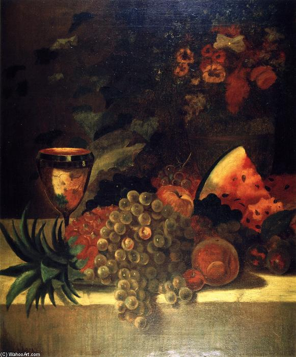 fruit and flower vida ainda ( B ), óleo sobre tela por William Merritt Chase (1849-1916, United States)