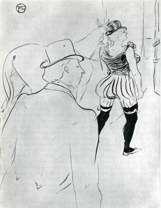 Nas Asas do re Folies Berg, lápis por Henri De Toulouse Lautrec (1864-1901, France)