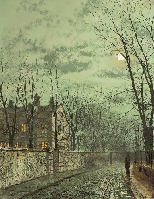 Sob os Moonbeams por John Atkinson Grimshaw (1836-1893, United Kingdom)