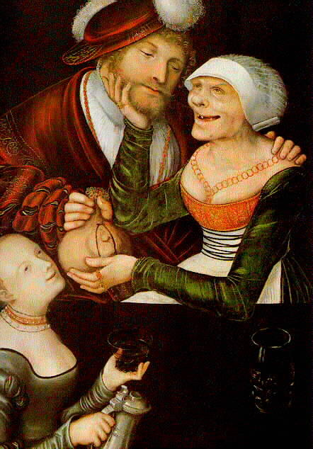 O Procuress, óleo sobre painel por Lucas Cranach The Elder (1472-1553, Germany)