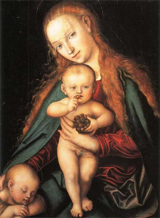 Madonna e Criança, 1540 por Lucas Cranach The Elder (1472-1553, Germany)