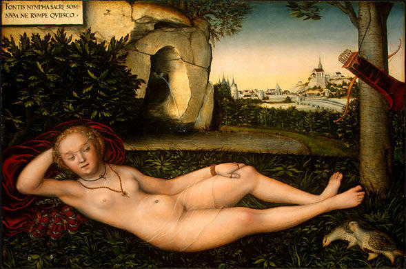 o `nymph` de primavera, 1540 por Lucas Cranach The Elder (1472-1553, Germany)