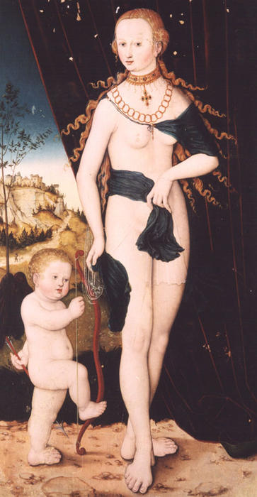vénus e cupido por Lucas Cranach The Elder (1472-1553, Germany)