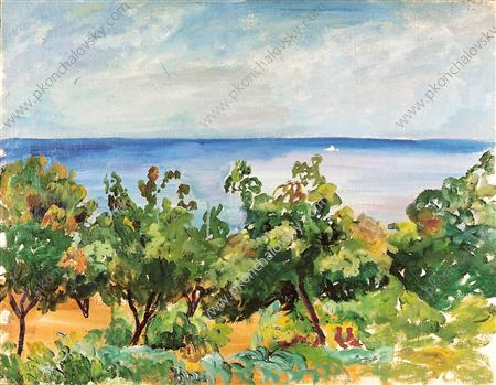 null . As árvores à fundo of o mar ., 1929 por Pyotr Konchalovsky (1876-1956, Russia)