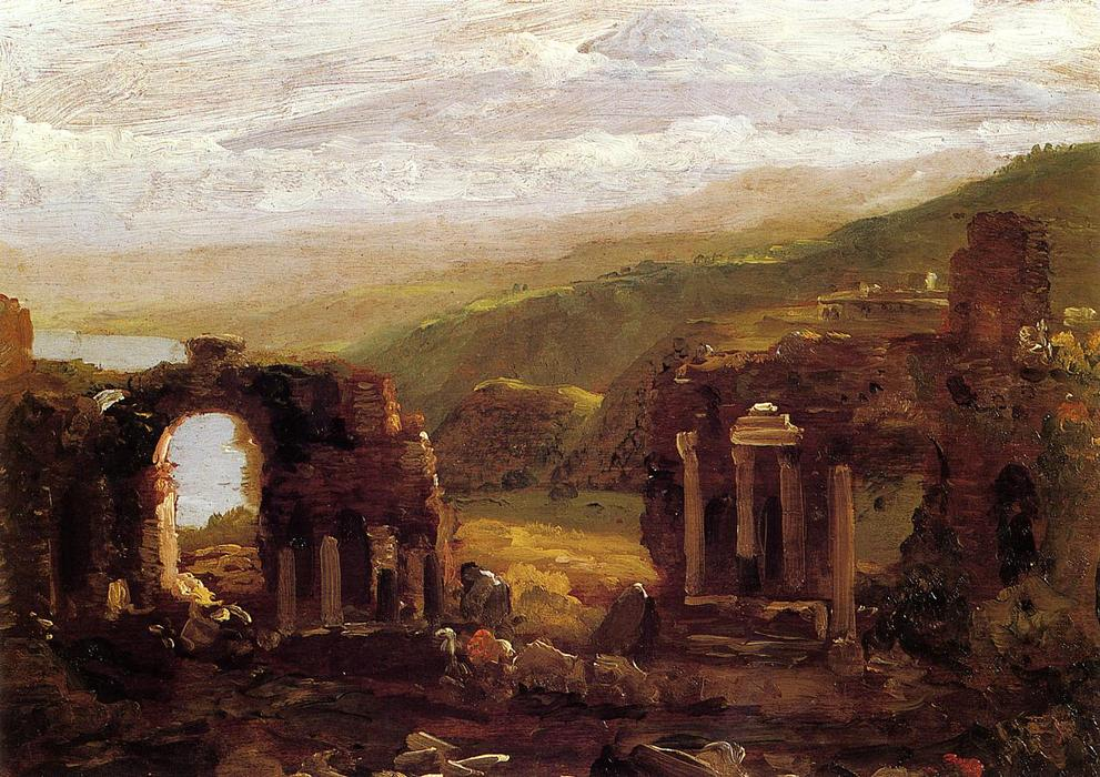 as ruínas de taormina, 1842 por Thomas Cole (1801-1848, United Kingdom)