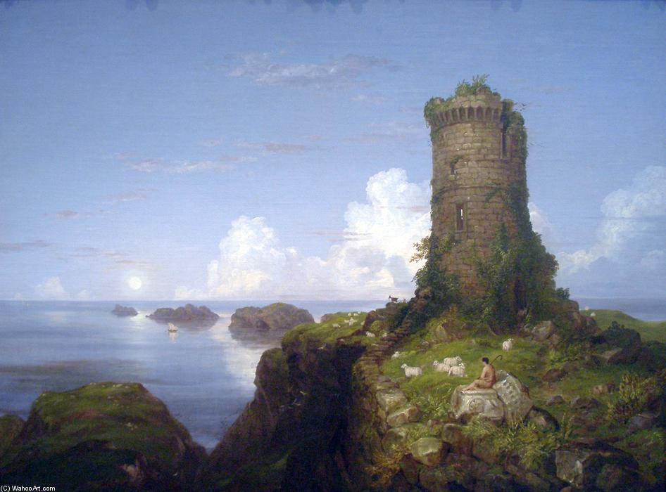 Italiano costa  cena  com  arruinado  Torre , 1838 por Thomas Cole (1801-1848, United Kingdom)