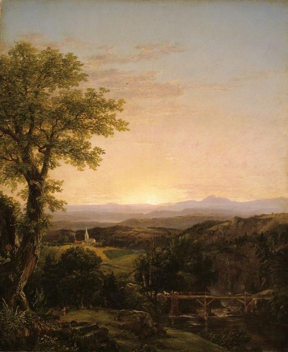 novo inglaterra paisagem, 1839 por Thomas Cole (1801-1848, United Kingdom)