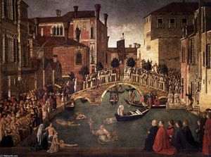 Gentile Bellini - Milagre of a cruz no Ponte of San Lorenzo