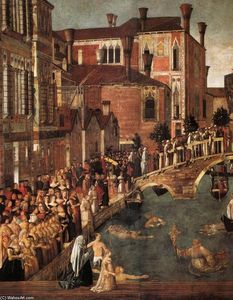 Gentile Bellini - Milagre of a cruz no Ponte of San Lorenzo ( detalhe )
