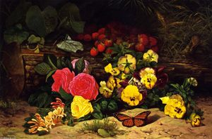 William Mason Brown - Monarch com Pansies e Fru..