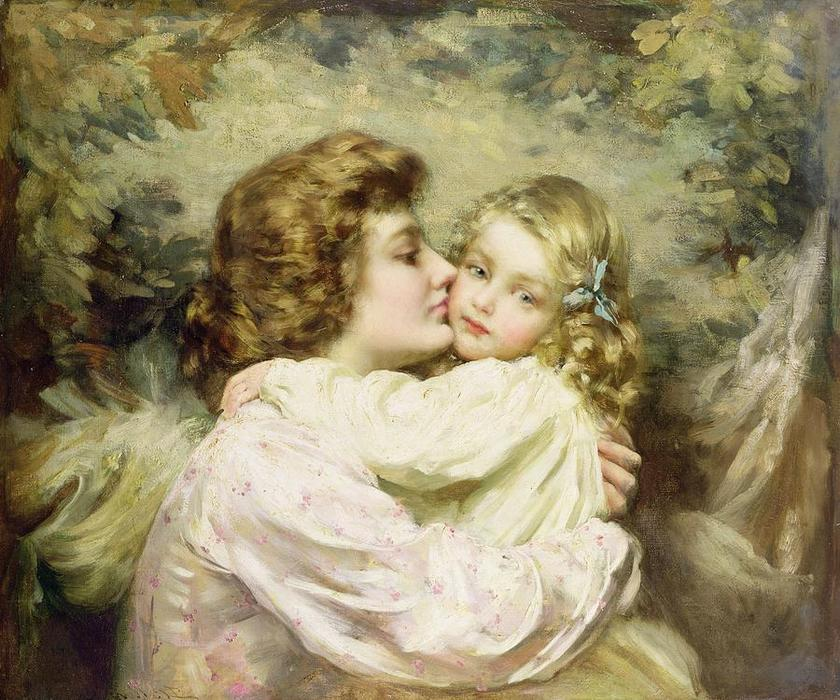 mãe e filha por Thomas Benjamin Kennington (1856-1916, United Kingdom)
