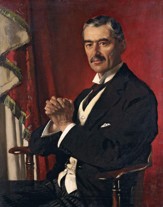 Neville Chamberlain, óleo sobre tela por William Newenham Montague Orpen (1878-1931, Ireland)
