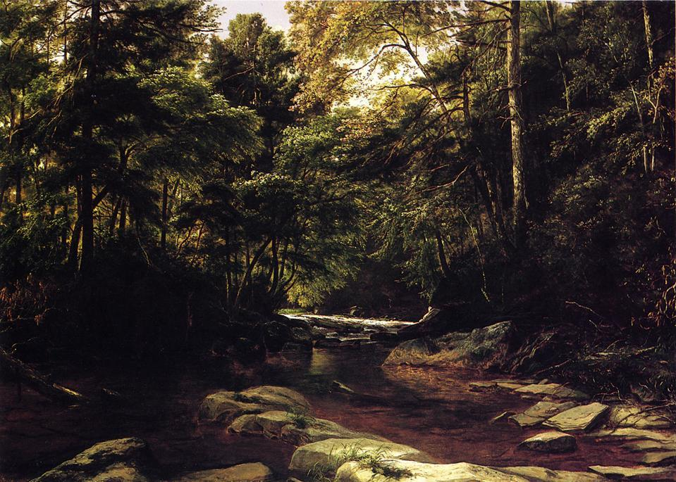 No Conemaugh, óleo sobre tela por George Hetzel (1826-1899, France)