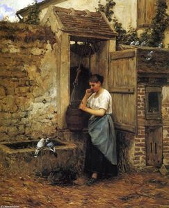 Henry Mosler - Girl and Doves Camponês