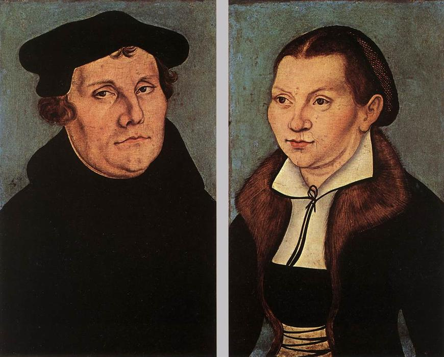 Retratos de Martin Luther e de Catherine Bore, óleo sobre painel por Lucas Cranach The Elder (1472-1553, Germany)