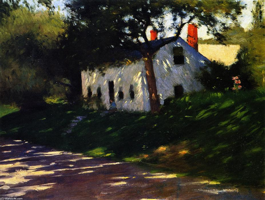 Roadside Cottage, Medfield, Massachusetts., óleo sobre tela por Dennis Miller Bunker (1861-1890, United States)