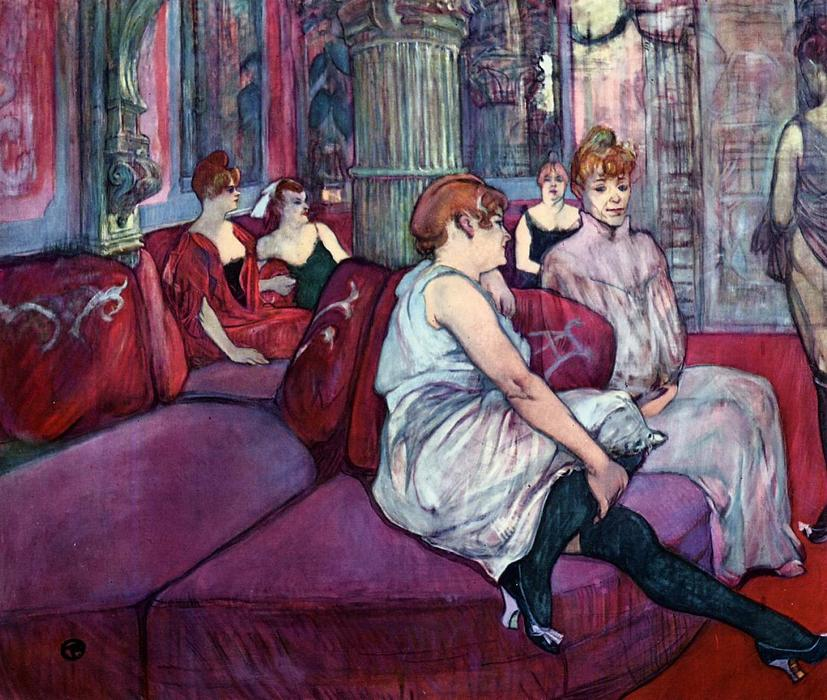 O Salon na Rue des Moulins, pastel por Henri De Toulouse Lautrec (1864-1901, Second French Empire)