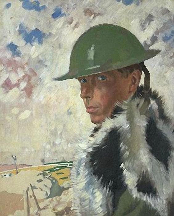 Retrato de auto em Helmet, 1917 por William Newenham Montague Orpen (1878-1931, Ireland)