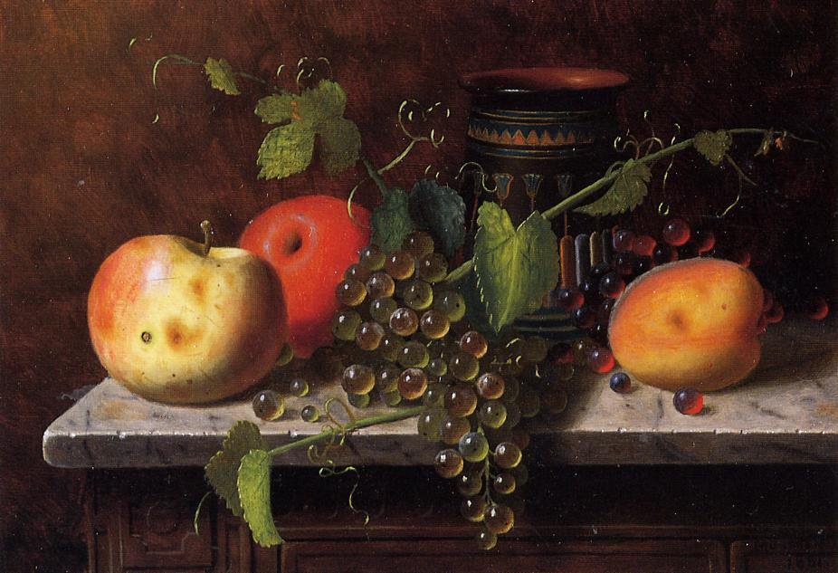 Natureza morta com frutas e  recipiente , óleo sobre painel por William Michael Harnett (1848-1892, Ireland)