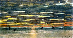Claude Monet - Pôr do sol sobre o  Mar