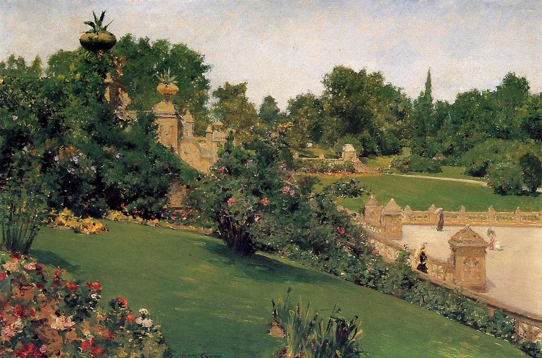 terraço no shopping , Cantral Parque, 1890 por William Merritt Chase (1849-1916, United States) | ArtsDot.com