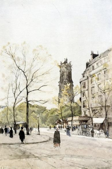 visto do avenida Vitória, original por Henri-Joseph Harpignies (1819-1916, France)